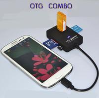 Data card reader For Samsung Samsung NEW Arrival!!4 in 1 Mircro USB OTG Combo Hub card reader for Micro interface smart phone Samsumg 5pcs lot free shipping