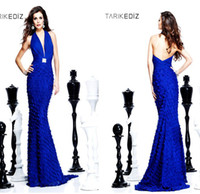 Reference Images Halter Chiffon Halter Designer Tarik Ediz Blue Mermaid Crystals Court Train celebrity Sexy Backless Chiffon 2013 Evening Gowns Prom Dresses A56