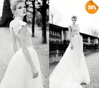 A-Line Reference Images Scoop New Sexy High Neck Key Hole Back A-Line Elie Saab Beach Garden Church Lace Wedding Dresses Bridal Gowns With Cap Sleeves And Long Train
