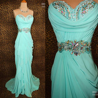 Reference Images Sweetheart Chiffon Actual Image 2013 Hot Strapless Sheath Crystal Beaded Chiffon Sexy Aqua Prom Evening Dresses Dress Gowns Dhyz 08