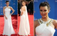 Reference Images Halter Chiffon Wholesale -Sexy Kim Kardashian Red Carpet Evening Dress 2010 Emmy Awards White Chiffon Celebrity Dresse Scoop Olivia Wilde Evening Dresses