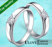 Wholesale A Pair of Sterling Silver Couple Rings Set with Zircon CZ Wedding Band Rhinestone Swarovuski Engagement Biggest