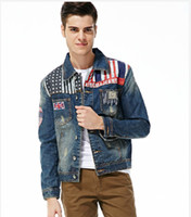 Wholesale Hot Retail New Winter Men s Banner Printing Masticate Denim Jacket M XXL