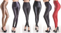 One Size   High Waist Leather Skinny Leggings Pants Tights Full Treggings Faux Leather Thin free DHL fedex 100pcs lot