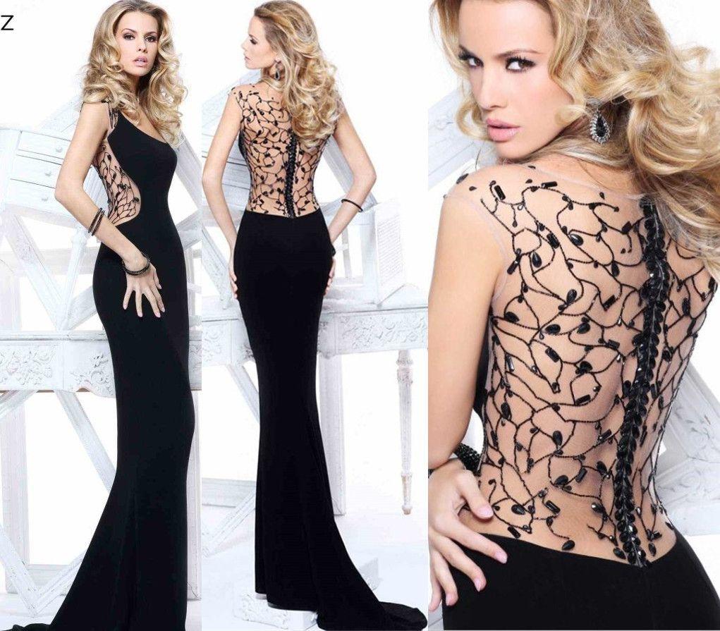 2014 Sexy Black Tarik Ediz Women Evening Dresses Long Sheath Scoop ...