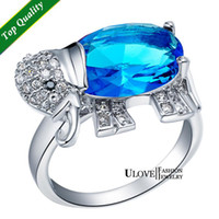 Band Rings Engagement Band Rings Wholesale - Silver S925 Ring Woman Zircon Elephant CZ Crystal Swarovuskii Red Blue Purple Amethyst Fashion Jewelry anillo de plata