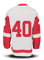 Ice Hockey Men Full 2013 New Season #40 White Color Henrik Zetterberg Road Jersey Hockey Wears Hockey Jerseys