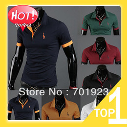 Wholesale New Men s Casual Slim Fit Stylish Short Sleeve Shirt Cotton Polo T shirt Y6236 Youshop2012