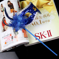 Wholesale with Handle Masquerade Mask On A Stick Wedding Party Mask Mix Color