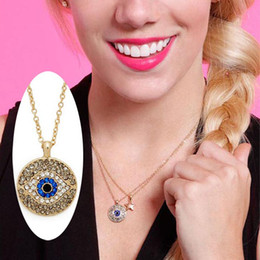 Newest Evil Eye Exaggerated Blue Eyes Pendant With Chain Necklace Jewelry