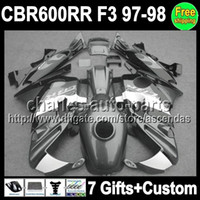 7gifts+ Custom new black grey Fairing For HONDA CBR600 F3 97-...