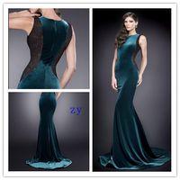 Cheap 2015 Mermaid Zuhair Murad Lace Evening Dress Crew Sweep Zipper Velvet Formal Prom Dresses