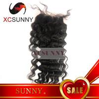 Natural Color Brazilian Hair  Hot Sale 8-20 Inch Deep Wave 100% Brazilian Virgin Remy Human Hair Top Part Silk Based Lace Closure 4*4 BLC002