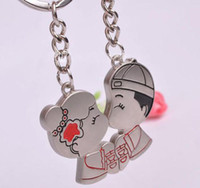 Wholesale 240 Sweet Chinese Wedding Traditional Clothing Bride amp Groom Couple Keychain Zinc Alloy Key Chain Ring