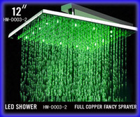 Stainless Steel (304) LED Nickle 12 Inch Bathroom Square Brushed Nickle Overhead LED Rainfall Shower Head - Free Shipping (D003-1)