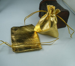 MIC 100 Gold Plated Gauze Jewelry Bags 7X9cm Jewelry Gift Pouch Bags For Wedding favors With Drawstring (b49)