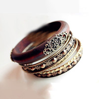 Wholesale Retro Bangle Bracelets Fashion Retro Style Wood Carving Multipayers Bangle Bracelet Sets