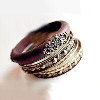 Wholesale Retro Bangle Bracelets Fashion Retro Style Wood Carving Multipayers Bangle Bracelet Sets