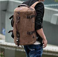 Wholesale 4 colors Men s Vintage Canvas Backpack Rucksack School Bag Satchel Hiking Bag JY71