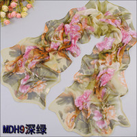 Wholesale Min order Hot Style New Winter Women s Fashion flower printed many colors chiffon georgette silk scarf shawl