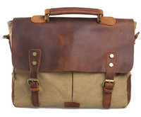 Wholesale Men s Women Vintage Canvas Leather Shoulder Messenger Bag handbag briefcases FB032