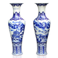 Wholesale Jingdezhen ceramic landsides blue and white large floor vase home crafts