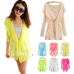 Wholesale shirt Hot Summer Sweet Color Hooded Batwing Cardigan Tunic UV Against Casual Tops
