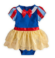 Girl Summer 100% Cotton Free Shipping Christmas Princess Snow White Short-Sleeved Romper Baby Girls Bow Jumpsuits Bodysuits Children's Tutu Dress Toddlers Clothes