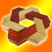 Wholesale Star of David Hexagon Solid Wood Construction Wooden Brain Teaser Puzzle ToyB791