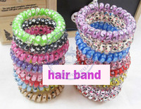 Wholesale telephone Rope leopard colorful extra large Elastic Girl s lady women Hair Ties Bands Headband Strap bracelet