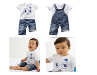 Boy Summer Short New Arrival Kids Suits 2013 Fashion Boy Oxeye Suspender Summer Jeans Suits Children's Clothing