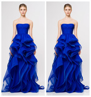 Wholesale 2014 Amazing Royal Blue Strapless Ball Gown Evening Dress with Ruffle Vintage Formal Dresses High Quality reem acra Evening Gowns