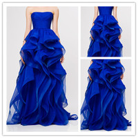 Wholesale 2014 Attractive Strapless Ball Gown Royal Blue Organza Prom Dresses reem acra Upscale Puffy Ruffle Evening Gown Celebrity Party Dresses