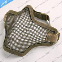 Men airsoft mesh mask - Tactical TMC Metal Steel Wire Half Face Mesh Airsoft Mask Black Khaki MYY7165
