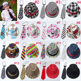Wholesale Unisex casual fedora trilby hat with necktie Boys girls fedoras with neck tie set Children top hat Jazz cap set