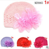 Wholesale 5pcs Knitted Handmade Crochet Infant Keep Warm Hat Kufi Baby Caps with Flower Headwear Prop Photos Colors