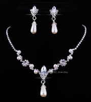 Wholesale Hot Sale Wedding Jewelry Sets Fashion Pearl Rhinestone Necklace Earrings Jewelry Sets sets Super Value