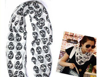 Wholesale Fashion Cotton and Hemp Material Skull Pattern Scarf Women s Scarf