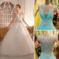 Wholesale Stunning V Neck Sleeveless Crystal Beaded Zipper Back Sheer Ball Gown Wedding dresses Long Train Organza Fabric White Ivory Bridal Dresses