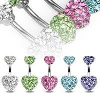 Wholesale Sparkling Pave Heart Belly Ring Navel Jewelry