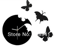 Wholesale Novlty Wall Plastic Butterfly DIY gift clock RED and black