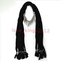 Wholesale Black OX Alloy Scarves Necklace Pashmina Soft Scarf Pendant FREE