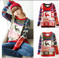 Wholesale 2013 New Sale XMAS Women Girls Snow Flake Reindeer Pattern Jumper Sweater Kniterwear For Christmas