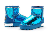 Ankle Boots Snow Boots Women MOOLECOLE 006-1 Women Boots Fashion Blue Blingbling Ladies Nice Winter Boot Design Warm Snow Shoes Eur35-39Size Dropship Disscount for You