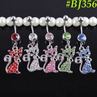 Wholesale Surgical L Steel G Curved Barbell Cute Cat Dangling Belly Button Ring Navel Rings Body Piercing Jewelry BJ356