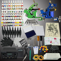 2 Guns Rotary Tattoo Kit  UPS Shipping Pro Tattoo Kit 2 Machine Gun 40 Color Ink Power Supply Needles Set Equipment T002
