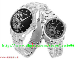 2014 NEW Wilon Watch Dragon Totem Fashion watches atmosphere elegant lovers diamond thin stainless gifts 2pcs lot