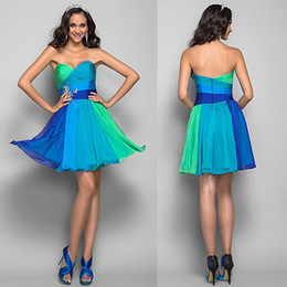 Wholesale 2014 New Style Fashionable A Line Sweetheart Knee Length Ruffle Designer Multicolor Chiffon Short Evening Dresses LTE137