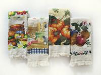 Wholesale 10pcs Woven Flower Print tea towel cotton towel Washcloth with Tassels FF1108