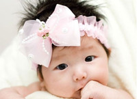 Wholesale 3 colors baby Headband bowknot hairband big flower petal head band elastic children hair accessories